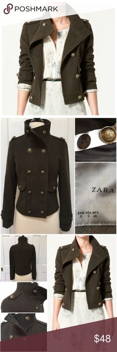 """{Zara Basic} Dark Green Military Style Jacket BRAND:Zara ITEM: Dark Green Military Style Jacket FEATURES: Button Front, Button Flap Front Pockets, Extra Buttons FABRIC:93% Polyester, 7% Viscose SIZE:S CONDITION:EUC  MEASUREMENTS Bust: 17"""" Length: 20"""" Sleeve: 24""""  PLEASE NOTE: Measurements are approximate and taken while item is laying flat  ALL ITEMS SHIP FROM SMOKE FREE HOME. NO Trades. NO Holds. NO PayPal. NO Lowball Offers. Offer Button Only. Zara Jackets & Coats"""