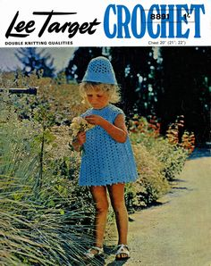 Vintage Childrens Dress and Matching Hat, Crochet Pattern, 1960 (PDF) Pattern, Lee Target 8891 by LittleJohn2003 on Etsy