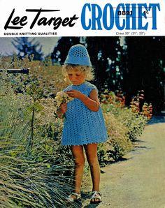 Vintage Childrens Dress and Matching Hat, Crochet Pattern, 1960 (PDF) Pattern, Lee Target 8891 by LittleJohn2003 on Etsy
