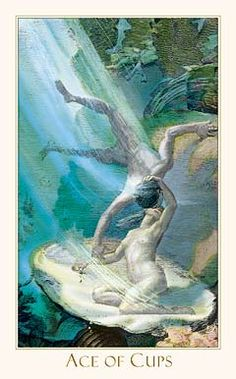 Ace of Cups from Victorian Tarot  being offered an opportunity to love and be loved
