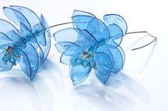 Sterling Silver Earrings, Flower Dangle Earrings, PET Bottle Jewellery, Drop Blue Earrings, Recycle Jewellery by ENNA Plastic Bottle Flowers, Plastic Bottle Crafts, Recycled Plastic Bottles, Blue Earrings, Flower Earrings, Dangle Earrings, Sterling Silver Flowers, Sterling Silver Earrings, Bottle Jewelry