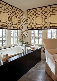 Robert Brown Interior Design - Trellis roman shades and dark wood framed tub in modern bathroom! Fabric for window treatments: (Fretwork/Chocolate, Michael Devine. -- source: Traditional Home Decor, Bathroom Window Treatments, House Design, Interior, Traditional House, Home, Brown Bathroom, Bathroom Design, Beautiful Bathrooms