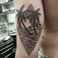 Palm trees and holiday vibes for Rory #garthstaunton #inkstagram #capetown #southafrica #tattooartist #blackink #tattoo #nature #trees #mountain #neotatmachines #inked #tatted #lighthousesupply #blackstallionink #palmtrees #ocean #sunset #holiday #travel #island #waves #taot