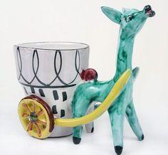VTG 50s 60s Italy REtro Kitsch Donkey Planter cart Ornament STUDIO POTTERY | eBay