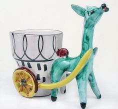 VTG 50s 60s Italy REtro Kitsch Donkey Planter cart Ornament STUDIO POTTERY | eBay