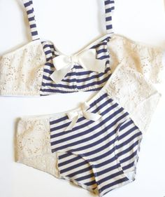 Bon Voyage Blue and Ivory Bra & Panties Set Made to by ohhhlulu, $80.00. Handmade in Canada