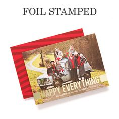 Share with loved ones - 'Feeling Happy' - Foil Stamped #Holiday Cards in Winterberry Red