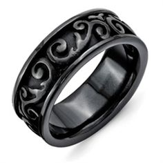 7MM Comfort Fit Dome Swirl Etched Design Black Titanium Wedding Band with Lifetime Warranty. Sizes 4-13 available. Inside Engraving Available. $79