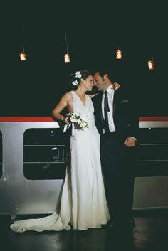 Soledad, una preciosa novia con traje de Cortana en su boda en Buenos Aires.