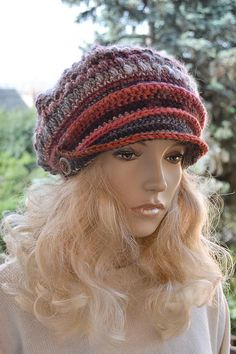 Red graybrown Crocheted  PEAKED CAP beanie Slouchy by DosiakStyle ♡ ♡