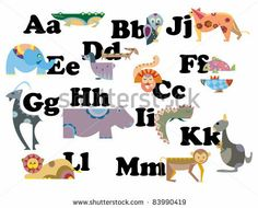Illustration of alphabet by animal character from A to M by ariadna de raadt, via Shutterstock