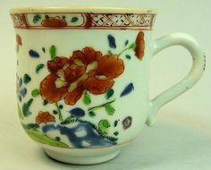ANTIQUE CHINESE PORCELAIN COFFEE CUP C.1770  | eBay 1770. It measures 2 7/8 inches high and is in good un-restored condition with just a faint hairline to the base of the handle. £79