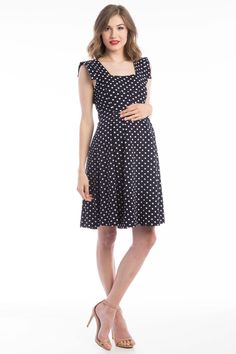Rachel Dress Navy/White Polka Dot
