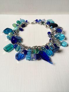 Blue/Aqua Beaded Charm Bracelet  on Etsy, $17.00