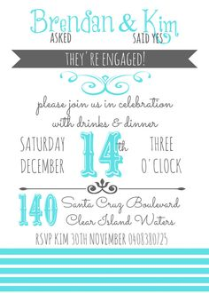Tiffany Blue Engagement Party Invitation Printable Digital & Customizable on Etsy, $14.00