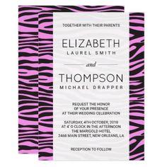 Wedding - Animal Print Zebra Stripes - Pink Black Card - wedding invitations diy cyo special idea personalize card
