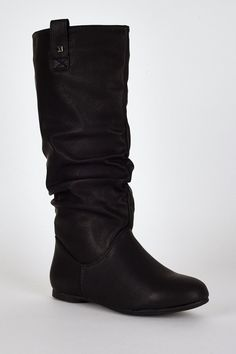 Black Slouchy Stud Detail Calf Boots