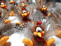 Polymer Clay Turkey Figurine with Real Feathers by ClayBabiesInc