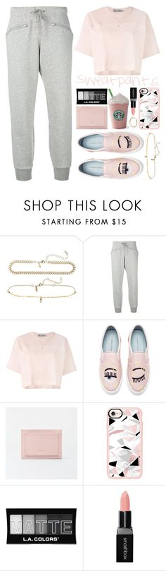 """Trip to Starbucks in *Sweatpants*"" by xxfashiongirl12xx ❤ liked on Polyvore featuring Topshop, adidas, Chiara Ferragni, Casetify, L.A. Colors and Smashbox"
