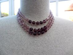 Amethyst Glass Strand Necklace 1970s Vintage Jewelry от OurBoudoir