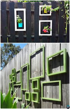 Hang Picture Frame to Decorate Backyard Fence Decoration Makeover DIY Ideas DIYHowto - Modern Design Garden Fence Art, Diy Fence, Fence Ideas, Glass Garden, Garden Ideas, Backyard Ideas, Desert Landscaping Backyard, Backyard Fences, Backyard Makeover