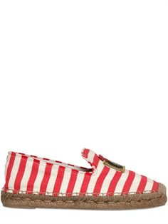 MARC JACOBS - 20MM STRIPED COTTON AND ROPE FLATS - LUISAVIAROMA - LUXURY SHOPPING WORLDWIDE SHIPPING - FLORENCE