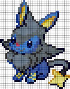 Eevee And Luxio Fusion Perler Bead Pattern / Bead Sprite-EZ Pearler Bead Patterns, Kandi Patterns, Perler Patterns, Beading Patterns, Pyssla Pokemon, Hama Beads Pokemon, Rainbow Loom, Crochet Pixel, Pokemon Cross Stitch