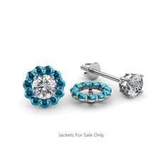 These Pleasant Jackets have 22 Round Blue Diamond beautifully set using Prong Setting which decorates your own favourite pair of Stud Earrings.To wear,simply slip your Round Solitaire Stud through the Jackets. Diamond Studs, Halo Diamond, Studded Jacket, Gold Jacket, Diamond Earring Jackets, London Blue Topaz, Ear Studs, Pink Tourmaline, Diamond Earrings