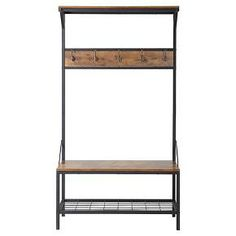 Tackle your lack ofseating and storage space at your front door with this Homestar Hall Tree that provides seating along with 5 hooks and 3 shelves you can fill with everyday things that are needed as your walking out the door. This hall tree has a beautiful Metal frame and Antique wood textured finish. Made of laminated particle board, the top shelf and middle seated area are great for storage and resting while you take off your shoes or put on a coat.
