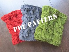 PATTERN - Cabled Boot Cuffs and Legwarmers - Knitted - DIY. $5.00, via Etsy.
