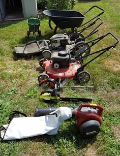 "Yard tools incl Yard Machines mulcher, Craftsman lawn mower, Homelite blower, Poulan chainsaw, TaskForce hedge trimmer, wheel barrow and seeder. Mulcher has Briggs & Stratton 4.5 HP motor with 22"" cut; Craftsman Hi-Tourque 6.75 HP lawnmower with bagger; Homelite Vac Attack II 200 MPH blower/vac; Poulan 2000 gas chainsaw; Task Force electric hedge trimmer. All good working cond"