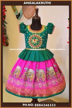 Custom designer pattu pavada for girls by Angalakruthi boutique Bangalore Watsap… - kids lehenga