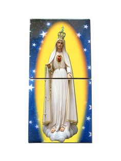 Our Lady of #Fatima wood and ceramic #catholic icon #handmade in Italy. Now available on #Etsy: >> https://www.etsy.com/listing/515556928 << #Virgin #Mary