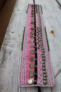 cinturon tela rosa boho tribal etnico monedas por azulcasinegro