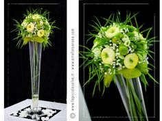 Round shapes again in a tall glass flute. I used cream ranunculus with Ping Pong acid green daisies and classical gypsophila. I also added some blooms of Lathyrus creating an eccentric and casual effect.
