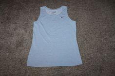Nike Womens Cotton Blend Gray Athletic Workout Tee Shirt Size Large 12-14  L #Nike #ShirtsTops