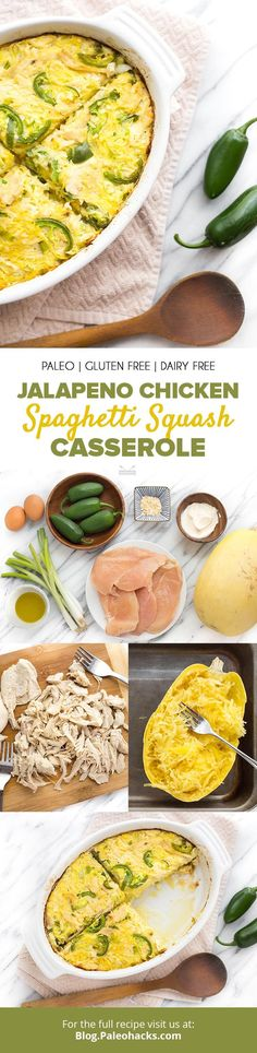 Combine spaghetti squash with spicy jalapeño chicken for a Paleo-friendly casserole dish filled with hearty and nourishing ingredients. Healthy Casserole Recipes, Casserole Dishes, Healthy Recipes, Bariatric Recipes, Protein Recipes, Vegetarian Recipes, Spaghetti Squash Casserole, Chicken Spaghetti Squash, Paleo Pasta