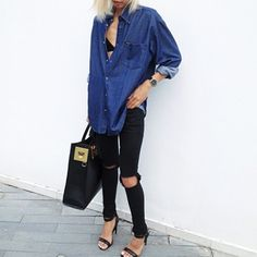 classy-lovely: Ripped-knees Black Skinny Jeans» (DoinaCiobanu)