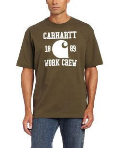 """Carhartt Work Crew Short-sleeved Shirt, ARMY GREEN, M   Carhartt Work Crew Short-sleeved Shirt, ARMY GREEN, M Carhartt Work Crew Short-sleeved Shirt, gear for hard-workin' guys! And you're definitely a hard-working guy! This comfortable cotton Shirt is rugged enough for days on the job, but stylish enough for your well-deserved days off. The famous Carhartt logo and """"Carhartt Work Crew"""" is printed across the chest for bold styling. You can grab this cool Short-sleeved Shirt with BIG .."""