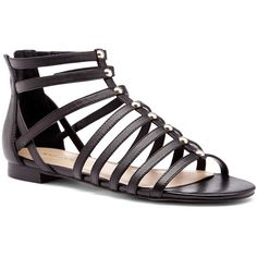 Sole Society Kaarina gladiator sandal ($65) ❤ liked on Polyvore featuring shoes, sandals, black, studded flats, greek sandals, flat shoes, black studded flats and greek leather sandals