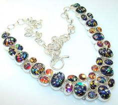 Summer Style Dichroic Glass Sterling Silver necklace - 82.70g | $170.50 best price at Silver Rush Style!