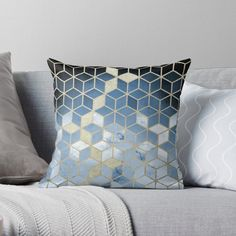 """Shades Of Blue Cubes Pattern"" Throw Pillow by nomadartstudio 