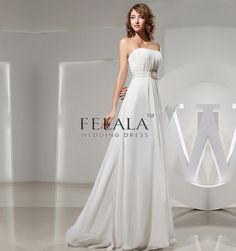 Spring/Summer/Fall Girls/Ladies/Womens Simple/Elegant/Beautiful White Chiffon Floor Length A Line/Princess Strapless Long Evening Dresses/Bridesmaid Dresses With Beading