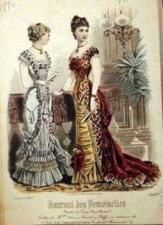1880. Evening gowns, February, Journal des Demoiselles.