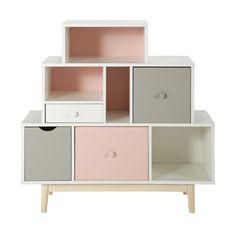 Regal- und Schubkastenmöbel für Kinder aus Holz, B 105 cm, weiß