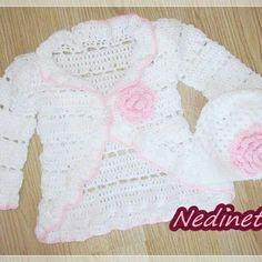 Crochet baby cardigan and beanie set pattern.