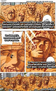 Naruto....well thanks to bolt Kakashi now has a mouth