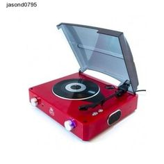 Retro Turntable - 3 Speed Black Vinyl Record Player with Built in Speakers (Red) Lp Player, Turntable Record Player, Vinyl Record Player, Record Players, Vinyl Turntable, Old School Phone, Retro Phone, Dj Equipment