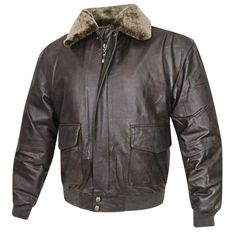 Men's Classic Vintage Aviator Brown Leather Bomber Jacket