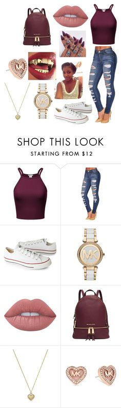 """Look at my swag"" by sourpatch-eriana ❤ liked on Polyvore featuring Converse, Michael Kors and Lime Crime"
